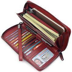 d5dec3b7eb Amazon.com  Women RFID Blocking Wallet Genuine Leather Zip Around Clutch  Large Travel Purse