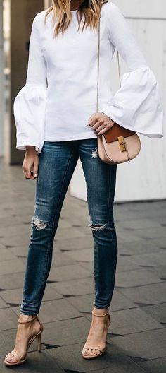 Idée et inspiration look d'été tendance 2017   Image   Description   cool summer outfit of the day blouce + bag + rips