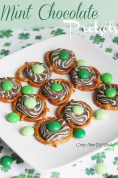 Patrick's Day Mint Chocolate Pretzels St. Patrick's Day Mint Chocolate Pretzels St. Desserts For A Crowd, Party Desserts, Holiday Desserts, Holiday Treats, Holiday Recipes, Dessert Recipes, Holiday Fun, Yummy Recipes, Mint Recipes