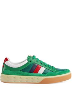 09a8a96f80e GUCCI GUCCI LEATHER AND NYLON SNEAKERS - 绿色.  gucci  shoes