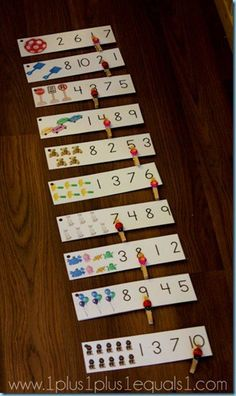 Math Printables ~ Clothespin Clip Cards from {free printable} Numbers Preschool, Math Numbers, Preschool Printables, Preschool Learning, Kindergarten Math, Teaching, Learning Numbers, Fun Math, Preschool Activities