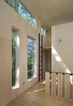 plywood walls with whitewash - beautiful and earthy without too much garish wood
