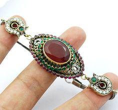eefa5fa7a5f High Quality Turkish Ruby Emerald Topaz 925K Sterling Silver Bracelet  CJ-N3927