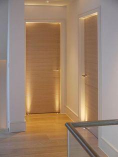Bedroom Doors with uplights - Portes - Door Design Custom Wood Doors, Wooden Doors, Wooden Windows, House Ceiling Design, House Design, Modern Interior, Home Interior Design, Interior Ideas, Interior Shop