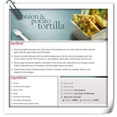 Sw onion & potato tortilla Slimming World Recipes, Healthy Eats, Diet Recipes, Onion, Food Ideas, Veggies, Food And Drink, Potatoes, Meals