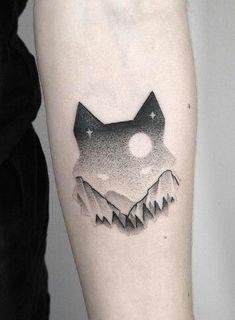 Fabulous dotwork wolf tattoo.