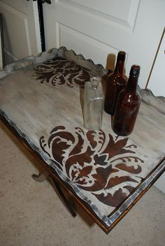 Chalk Paint® decorative paint by Annie Sloan in Paris Grey with a negative stencil and dark wax. How-to after link jump.