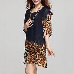 Mulheres+Vestido+Tamanhos+Grandes+Leopardo+Acima+do+Joelho+Decote+Redondo+Chifon+–+USD+$+17.99