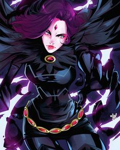 Raven battles the forces of evil alongside her adoptive family, the Teen Titans while trying to control her baser, antagonistic instincts she inherited from her demonic father, Trigon. Teen Titans Go, Teen Titans Raven, Deathstroke, Comic Book Characters, Comic Character, Beast Boy Raven, Personnage Dc Comics, Robin And Raven, Univers Dc