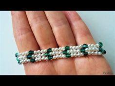Beaded bracelet. How to make a bracelet, easy pattern - YouTube