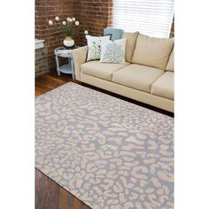 Hand-tufted Pale Leopard Whimsy Print Rug