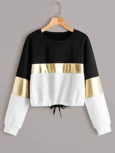 Cut And Sew Drawstring Hem Sweatshirt – kidenhome Girls Fashion Clothes, Teen Fashion Outfits, Trendy Fashion, Girl Fashion, Clothes For Women, Cool Clothes, Grunge Outfits, Fashion Black, Fashion Ideas