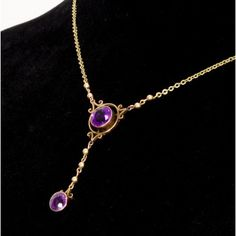 Gorgeous and fine; Edwardian 9ct gold mounted purple Amethyst stone pendant