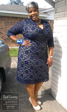 Real Curves for Scalloped Boudoir Lace Dress