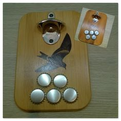 AI / Bottle cap openers (with magnets on the backside). Bird-motif transferred on the wood with gel medium.
