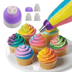 DZT1968 1PC 3Color Icing Piping Nozzles Tips Pastry Bag Cake Cupcake Decorating Tool NEW