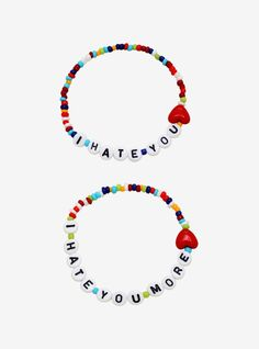 """This beaded bracelet set includes """"I hate you"""" and """"I hate you more"""" spelled out in letter beads with a red heart.One size fits mostMan-made materialsSet of Letter Bead Bracelets, Pony Bead Bracelets, Bff Bracelets, Best Friend Bracelets, Letter Beads, Pony Beads, Bracelet Set, Fashion Bracelets, Beaded Friendship Bracelets"""