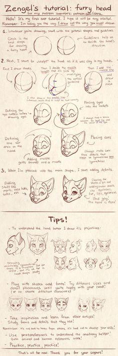 Zengel's tutorial - furry heads. by Zengel.deviantart.com on @DeviantArt