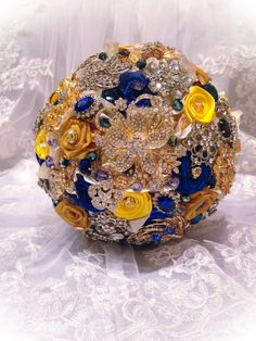 Blue Yellow Bridal Brooch Bouquet. Deposit on custom Royal Blue,Mustard Yellow,Gold,White Teardrop Wedding Bling Diamond Broach Bouquet