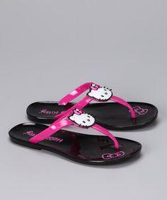 b48aa5d1776 Hello Kitty Black   Pink Beach Chic Jelly Flip-Flop