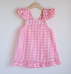 Vintage Toddler Girl Jumper  Pink GINGHAM Flutter. This would be even cuter with little pockets in the front!