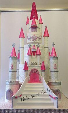 Fairytale castle cake by Valentinos Cakery Bolo Rapunzel, Rapunzel Birthday Cake, Castle Birthday Cakes, Disney Princess Party, Princess Castle, Architecture Cake, Castle Crafts, Kale Pasta, Gateaux Cake