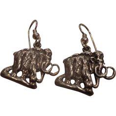 Vintage Sterling Silver Mastodon Mammoth Earrings Signed Studio Made
