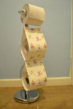 Fabric Decorative Toilet Roll Holder /crem with pink flowers/2 rolls of toilet