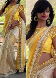Yellow Beige Sequin Work Border Rasal Net Georgette Wedding Half Sarees   #Wedding #Bridal #designer #Saree http://www.angelnx.com/Sarees