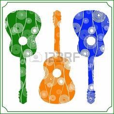 Vector illustration of colorful acoustic guitars