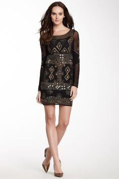 Sequin and Knit Trim Dress