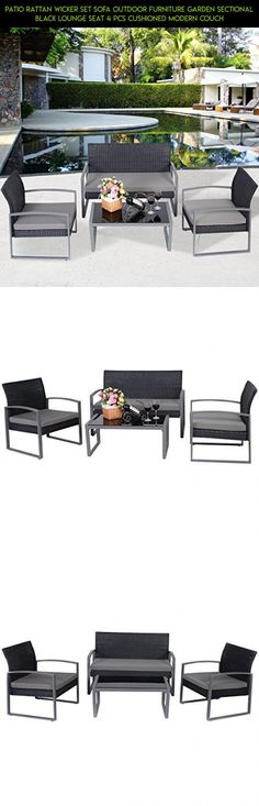 Patio Rattan Wicker Set Sofa Outdoor Furniture Garden Sectional Black Lounge Seat 4 Pcs Cushioned Modern Couch #products #parts #kmart #patio #furniture #racing #technology #tech #gadgets #drone #shopping #kit #plans #camera #fpv