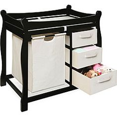 @Overstock.com - Black Changing Table with Hamper and Three Baskets - Improve your nursery with a new changing table and hamper unitChanging table keeps everything tidy and concealed for a clean look in the nurseryChanging area of baby furniture has safety rails on all four sides  http://www.overstock.com/Baby/Black-Changing-Table-with-Hamper-and-Three-Baskets/3821192/product.html?CID=214117 $129.00