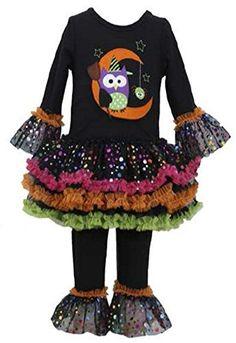 Owl//Broomstick Bonnie Jean Little Girls 2T-6X Black//Multi Dress//Legging Set