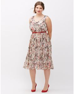 Pleated Fit & Flare Dress | Lane Bryant