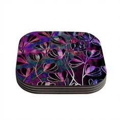 East Urban Home Efflorescence Coaster Color: Mixed Berry / Pink / Purple