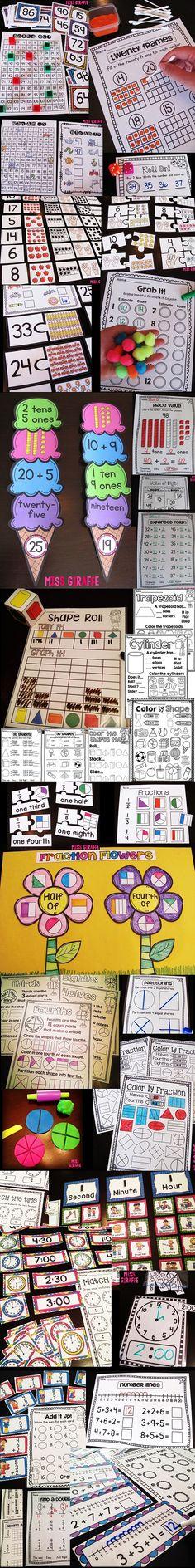 First grade math centers, worksheets, and ideas. Second Grade Math, First Grade Classroom, Math Classroom, Grade 1, Math Strategies, Math Resources, Math Activities, Math Games, Math Intervention