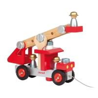 DIY FIRE TRUCK - 2 toys in a construction set with nuts, plates and screws that must be assembled to rebuild a magnificent fire truck and a pull toy to develop your child's motor skills. Includes 27 pieces, including 2 tools and 3 fire fighters