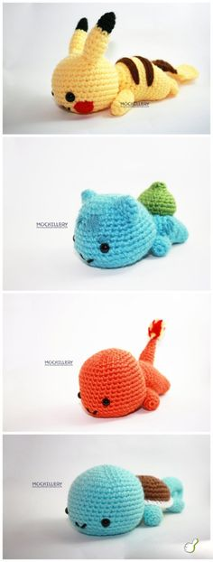 Crochet: Amigurumi Pokemon So cute! Crochet Crafts, Yarn Crafts, Crochet Toys, Crochet Projects, Diy Crochet, Pokemon Craft, Pokemon Dolls, Pokemon Fusion, Geek Decor
