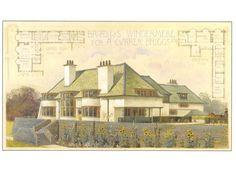 C.F.A. Voysey Postcard: Arts & Crafts House w Sunflowers, Windermere Boat Club  | eBay