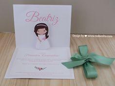 Convite de Comunhão para menina Communion Invitation for girl