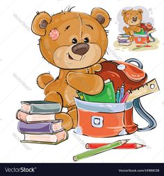 Vector illustration of a brown teddy bear holds books and pencils in a school satchel. Print, template, design element. Download a Free Preview or High Quality Adobe Illustrator Ai, EPS, PDF and High Resolution JPEG versions.