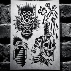 Traditional Tattoo Sketches, Traditional Tattoo Design, Traditional Ink, Traditional Tattoo Flash, Old School Tattoo Designs, Japanese Tattoo Designs, Tattoos Mandala, Hipster Tattoo, Dibujos Tattoo
