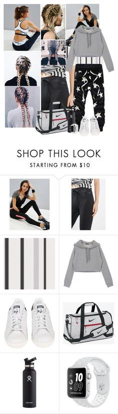 """""""Sporty in grey"""" by kerry6590 ❤ liked on Polyvore featuring Elle Sport, adidas, NIKE and Hydro Flask"""