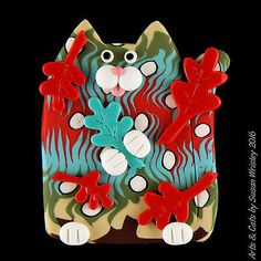 Turrquoise Green Red White Kitty Cat & Autumn Leaves Pin - SWris in Collectibles, Animals, Cats | eBay | Frankie Fizzywhisker won a bronze medal in the Leaf Chasing event at the Cat Olympics summer games! He almost got away with the gold medal, but judges were watching and made him give it back.