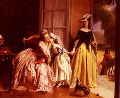 Joseph Caraud (1821-1905)  La Reine marieAntoinette Et Sa Fille, Madame Royale, A Versailles  Oil on canvas  1870
