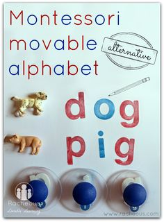 Montessori movable alphabet alternative Racheous - Lovable Learning Uses stamps Kindergarten Language Arts, Kindergarten Literacy, Early Literacy, Preschool Classroom, Toddler Learning Activities, Montessori Activities, Educational Activities, Kids Learning, Montessori Materials