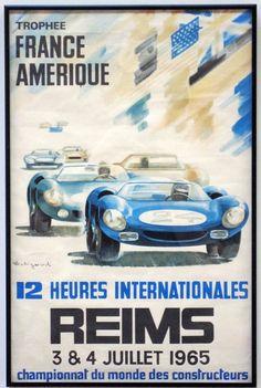 Reims France 12 Hours International 1965 Car Races Vintage Poster Print Art