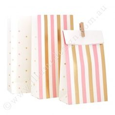 Gold & Pink, Stripes & Spots - Treat Bag - Pack of 10