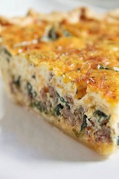 Sausage & Egg Quiche-I'd lighten this up a bit w/light cream, low fat cheese and maybe crust less! (Made this crustless-quite great) Sausage Pie, Sausage And Egg, Sausage Recipes, Cooking Recipes, Ww Recipes, Sausage Quiche, Veggie Sausage, Turkey Sausage, Quiches